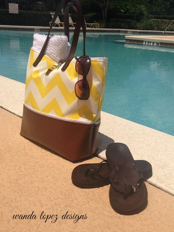Chevron and Leather Tote in Sunshine Yellow by Wand Lopez Designs