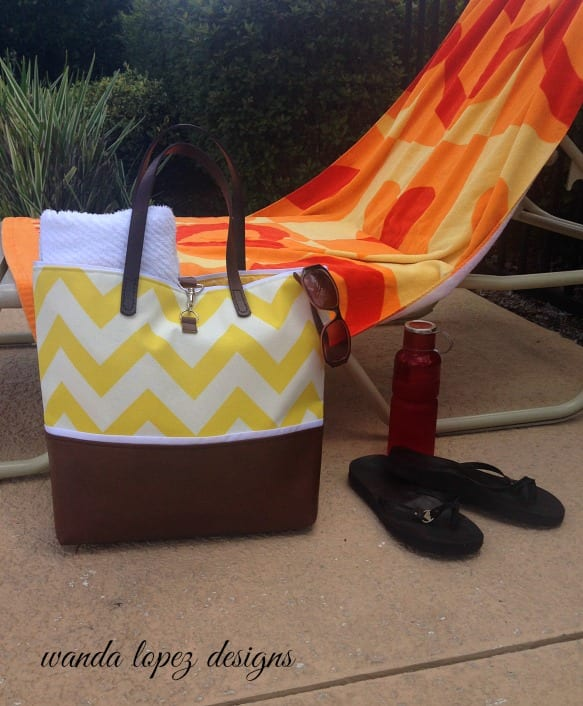 Chevron and Leather Tote in Sunshine Yellow by Wanda Lopez Designs