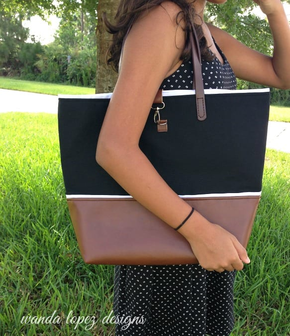 Black Canvas and Leather Tote / Wanda Lopez Designs #etsyshop #wandalopezdesigns