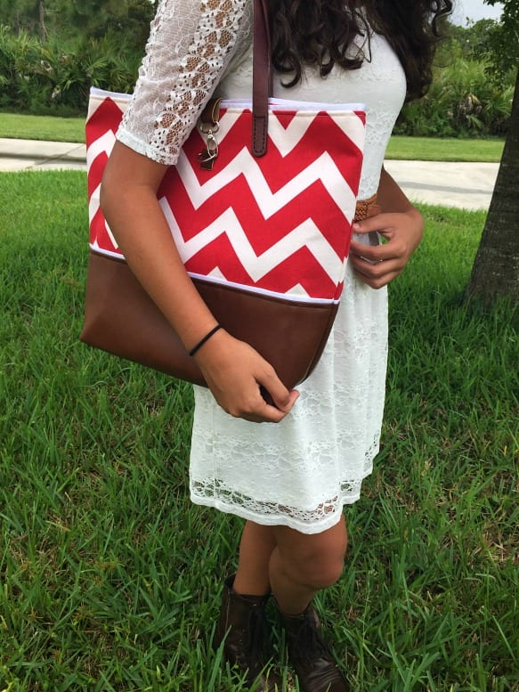 Chevron Leather Tote in Red / WLD / #wandalopezdesigns