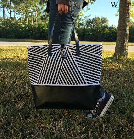 Black & White Canvas and Leather Tote / #WLdesigns