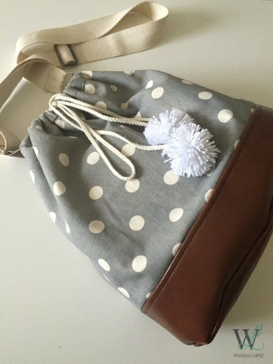 Bucket Bag Gray with Dots Canvas & Leather / adjustable strap /  #pompoms / by Wanda Lopez Designs / #WLDesigns