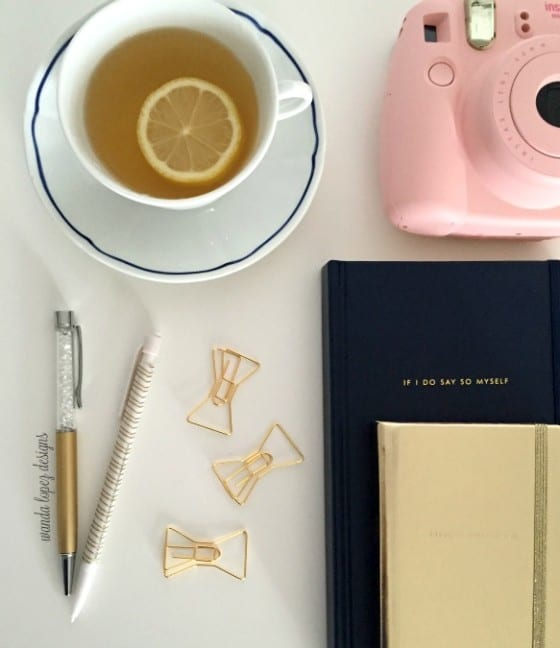 Boundaries... work smart while working from home / desk stationary, tea, Instax Mini in Pink / by Wanda Lopez Designs