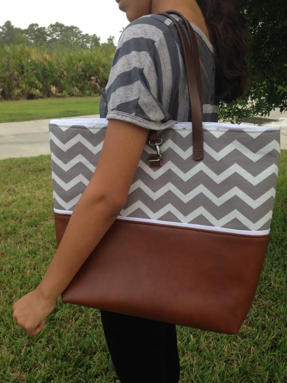 Chevron and Leather Tote Gray by Wanda Lopez Designs #trendystyle