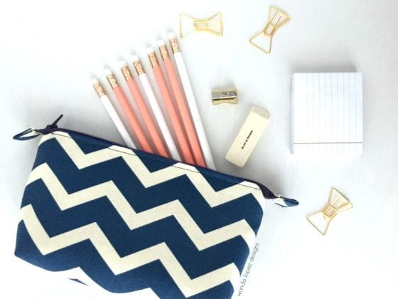 Royal Blue and Cream Chevron / small pouch perfect for keeping your essential tidy / think: pencils, makeup, toiletry, markers, coloring pencils, makeup brushes, kids essentials, and much more / design by Wanda Lopez Designs / #fashionandlifestyleblog