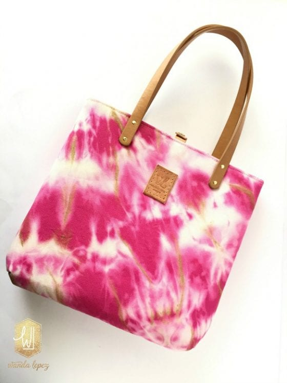 Beth Anne Tote / beautiful pink and gold hand-treated and hand-painted tote bag made by Wanda Lopez Designs / proceeds from sales goes towards the Susan G. Komen Cancer Awareness Foundation #wandalopezdesignetsyshop