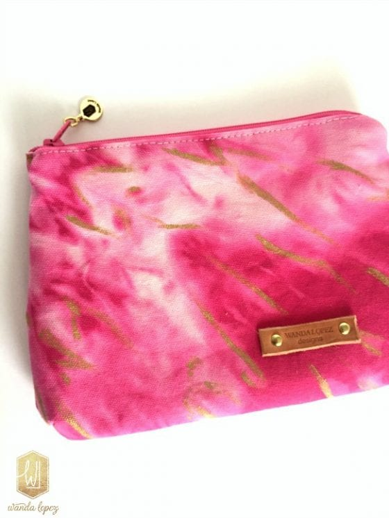 Julie makeup bag / beautiful pink and gold hand-treated and hand-painted makeup pouch (can also be used as a clutch) made by Wanda Lopez Designs / proceeds from sales goes towards the Susan G. Komen Cancer Awareness Foundation #wandalopezdesignetsyshop