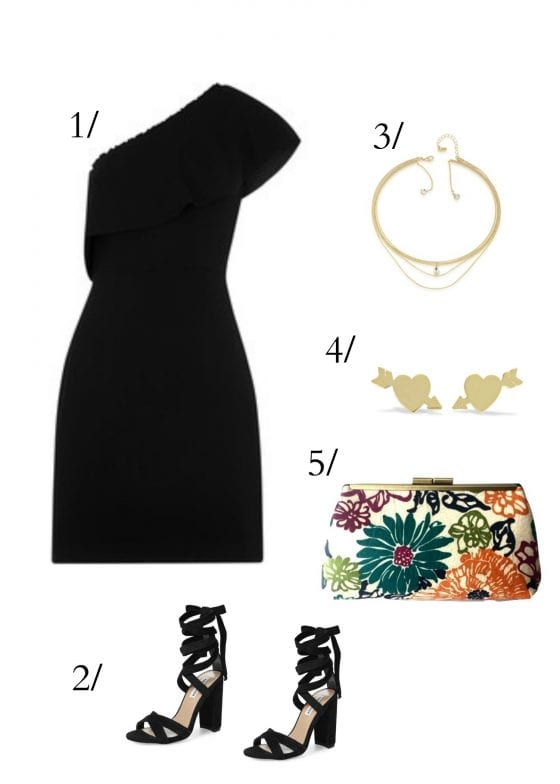 Date night outfit one shoulder LBD, gold accessories, black lace high heel shoes, flour pattern metal frame clutch / go out with your loved one or girlfriends in style. / by Wanda Lopez Designs #/lifestyleblog