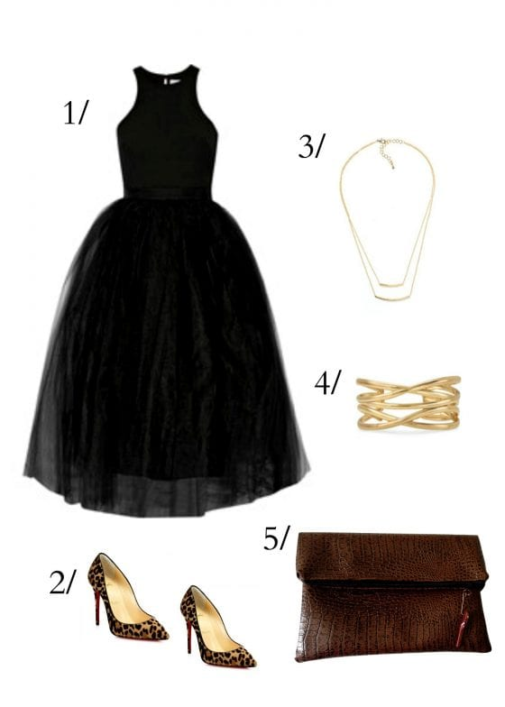 Date night outfit with a tulle LBD, gold accessories, leopard shoes, crocodile fold over clutch / go out with your loved one or girlfriends in style. / by Wanda Lopez Designs #/lifestyleblog