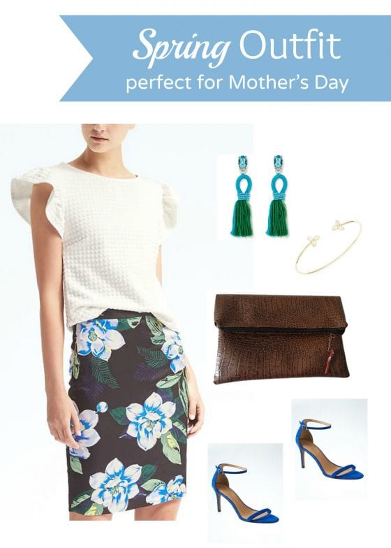 Spring outfit perfect for Mother's Day, floral skirt, white ruffled top, a stunning crocodile fold-over clutch. See more at wandalopez.com - blog / beauty and style