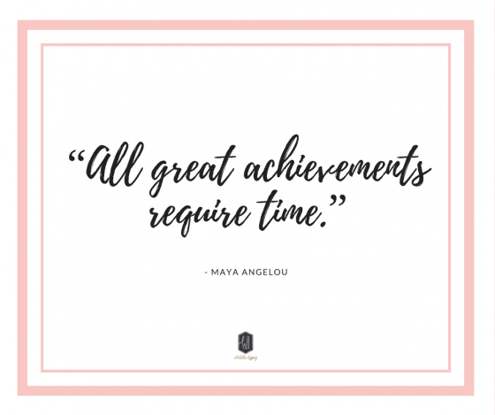 All great achievements require time, quote of the day by Maya Angelou Read more about this topic at wandalopez.com #bosslady #girlboss #businesscoaching Grow your business with intention!